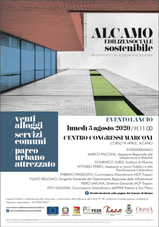 Alcamo Edilizia Sociale Sostenibile: lunedì 3 agosto la presentazione del progetto di riqualificazione